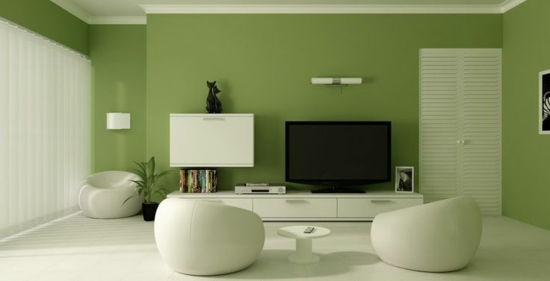 raumbild beispiel vlies-tapete as creation tapeten living walls ... - Wandbilder Wohnzimmer Grun