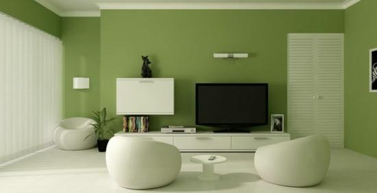 wandfarbe modernes wohnzimmer grün designer sessel wohnwand