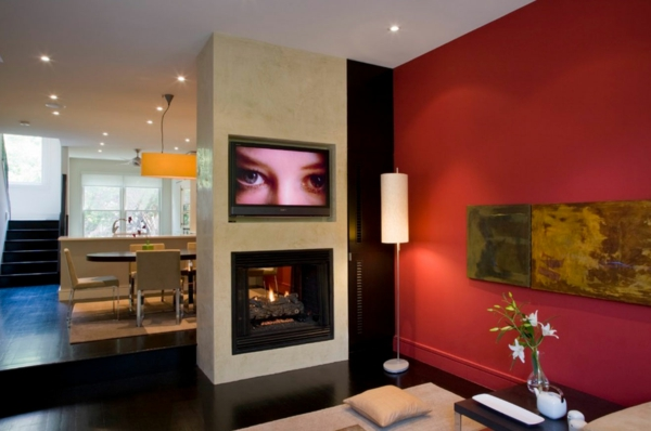 wandfarbe wohnzimmer aktuell trendy stehlampe kamin esszimmer