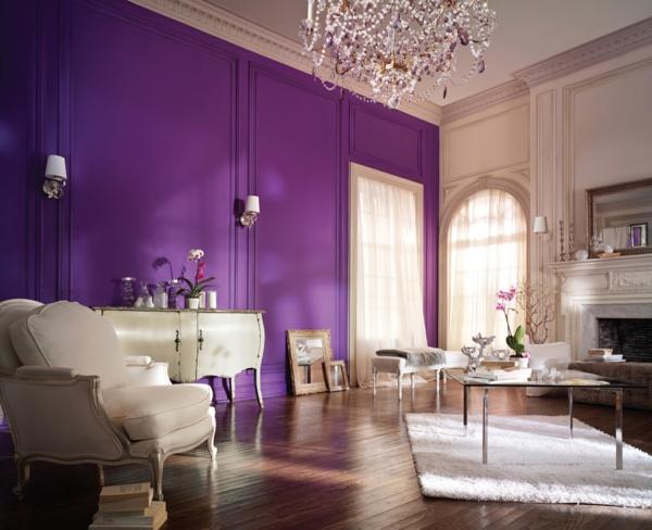 wandfarben lila decken hoch wohnzimmer teppich