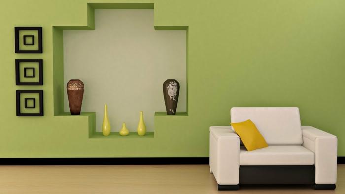 wandfarben wohnzimmer grüne wandgestaltung ideen