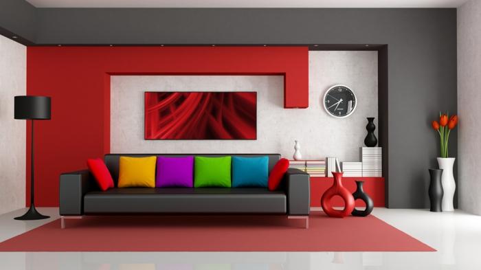 Wandfarben Wohnzimmer Ideen Wandgestaltung Rote Wandfarbe
