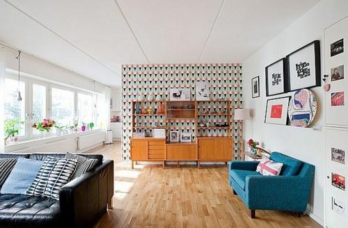 Wandgestaltung Geometrische Muster Wohnzimmergestaltung Ideen Retro Stil