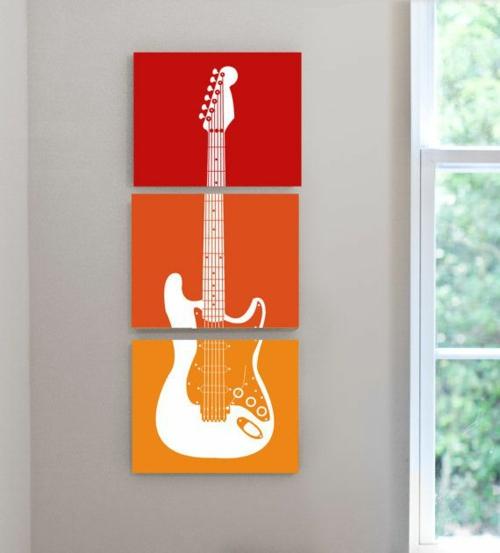 gitarre rahmen leinwand wandgestaltung jugendzimmer