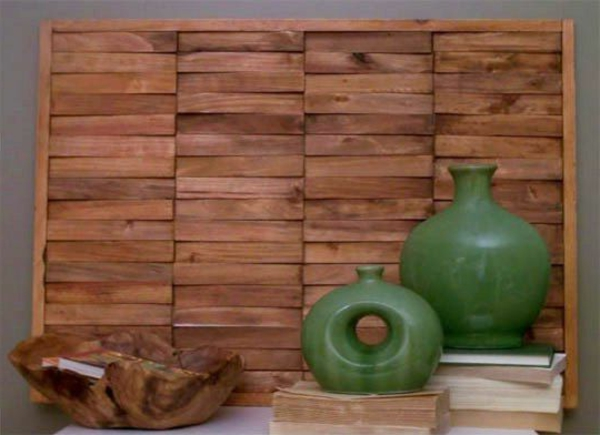 wandgestaltung wall art DIY kunst porzellan gefäße Wanddeko mit Holz