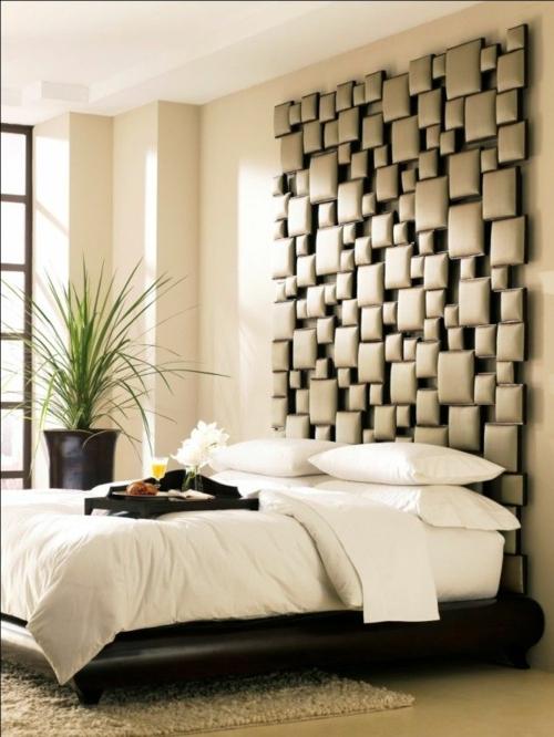 Wandgestaltung Schlafzimmer Bett Kopfteil Originell