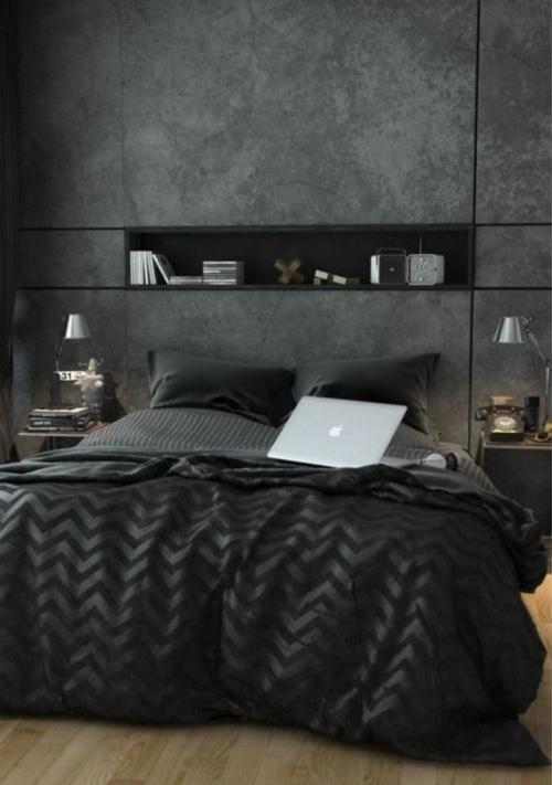 wandgestaltung schlafzimmer bett schwarz praktisch beton optik