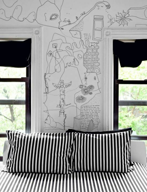 wandgestaltung schlafzimmer wand zeichnung schwarz weiß skizze