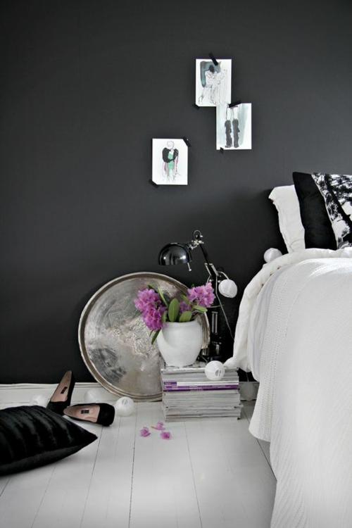 wandgestaltung schlafzimmer wandfarbe modeillustrationen frauenstil