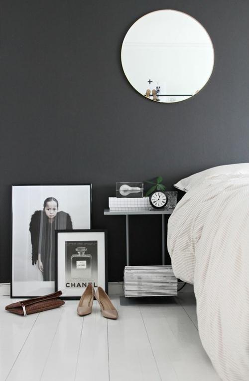 wandgestaltung schlafzimmer wandfarbe spiegel frauenstil