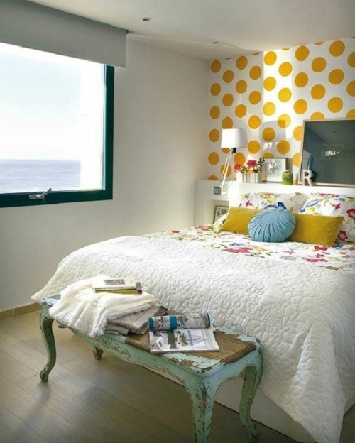 wandgestaltung schlafzimmer wantapete muster gepunktet gelb