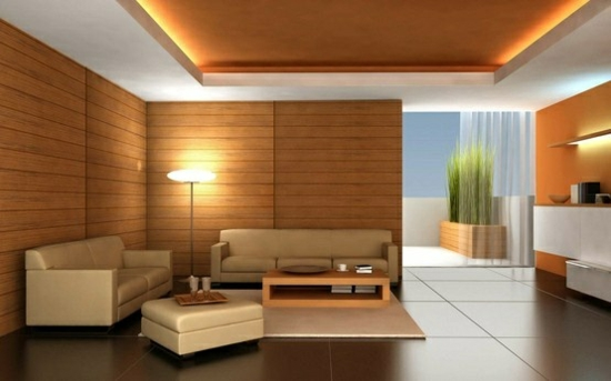 Wandgestaltung Wandverkleidung Holz Wohnzimmer Gestalten Beleuchtung Ideen
