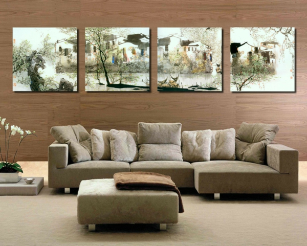 wandgestaltung wohnzimmer warm holz sofas tisch