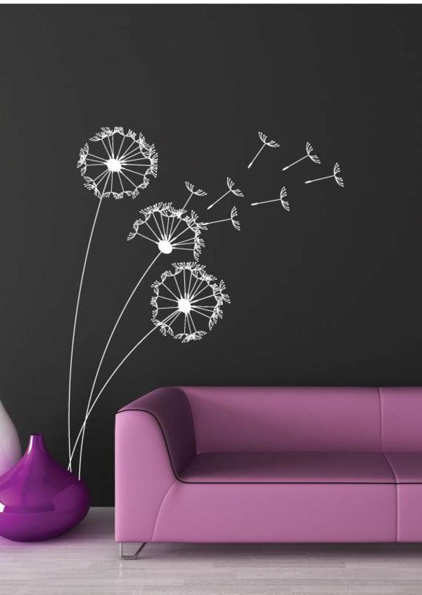 wandtattoo weiß natur lila modern trend farbe