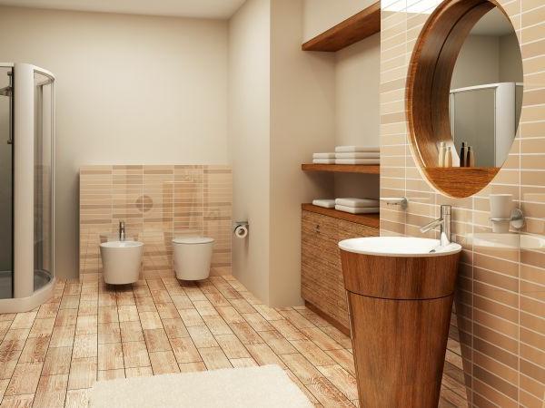 warm ambiente holz waschbecken spiegel badezimmer