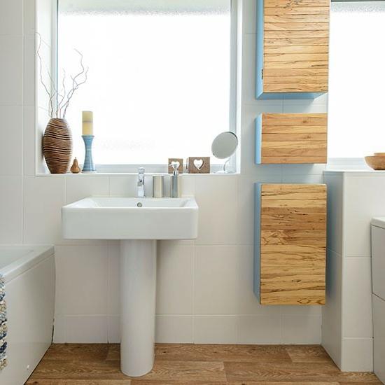 weiß badezimmer holz effekt badezimmermöbel