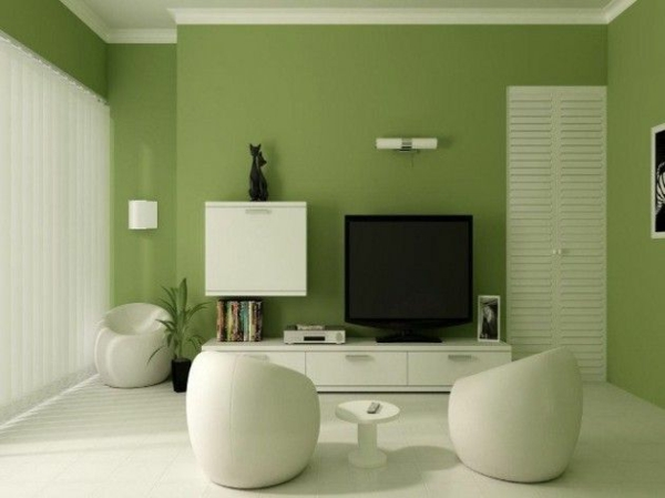 weiße möbel grüne wand