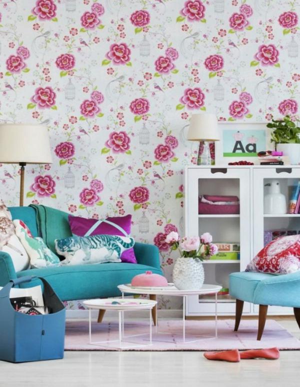 weiße tapeten rosa blumenmuster feminine wohnzimmer farben