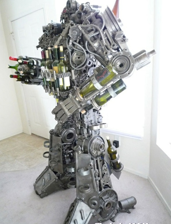 weinregal  roboter komposition