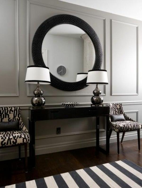 wohnideen flur bedienungstisch rundspiegel 2 spiegel