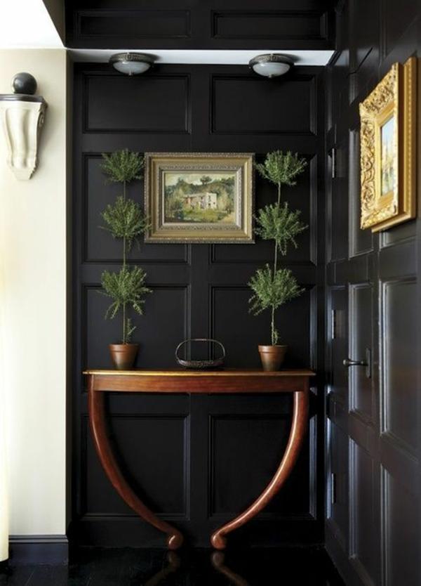 wohnideen flur schwarze dekorative wände