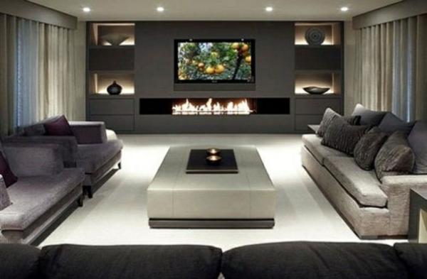 wohnideen moderne gestaltung kamin grau schwarze mbel dreiecktisch - Moderne Wohnzimmer