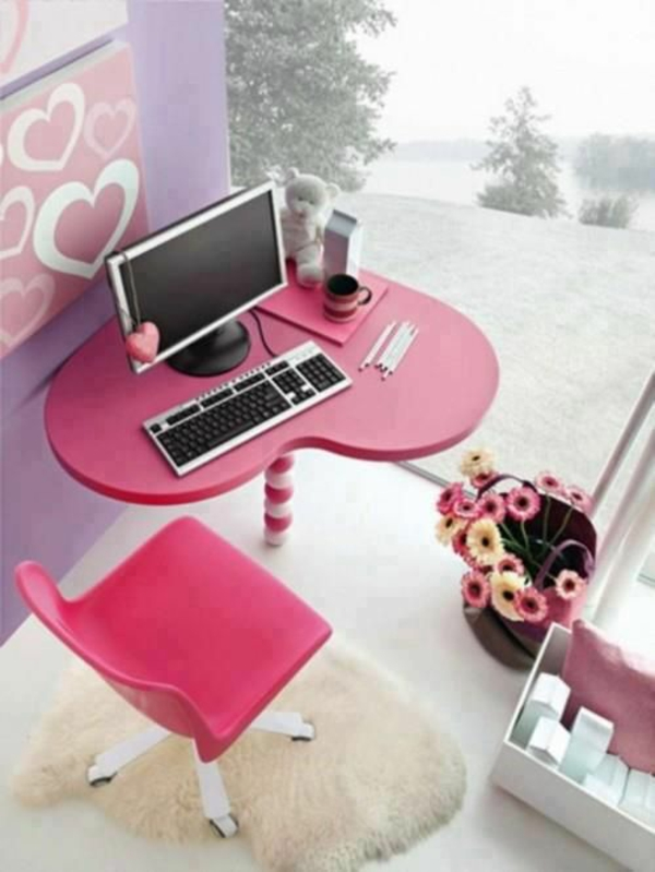 wohnideen schöner schreibtisch rosa