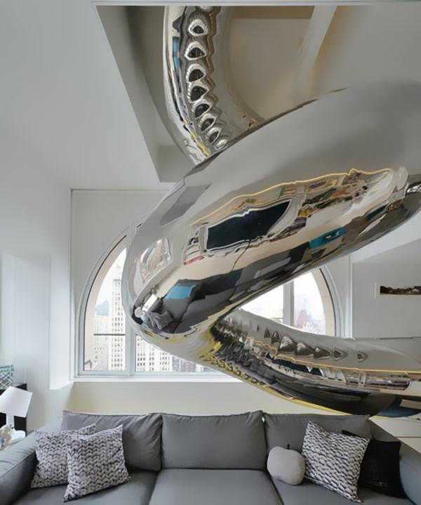 wohnideen wohnzimmer einrichten rutsche silber sofa