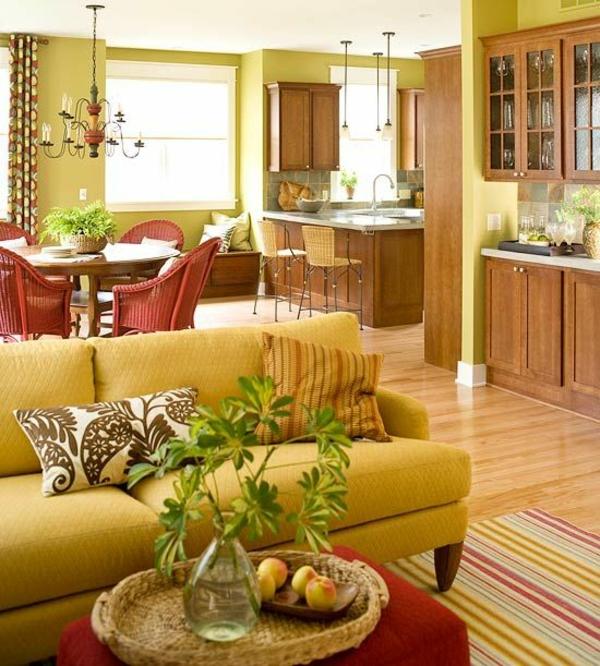 wohnraum esszimmer gelb traditionell teppich