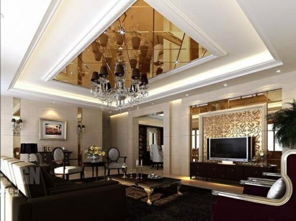 wohnzimmer einrichten glänzende decke tv sofa
