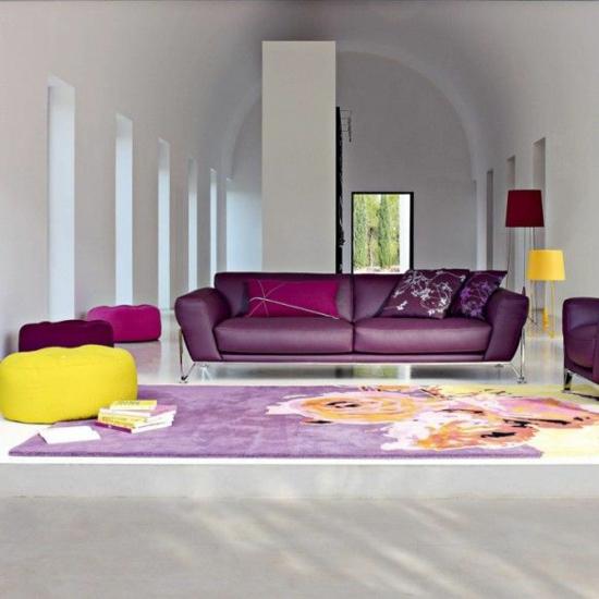 Wohnzimmer Einrichten Sofa Lila Purpur Farbe De Jahres