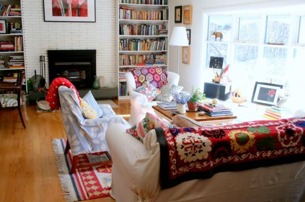 wohnzimmer einrichten wohnideen textilien texturen farben lebendig