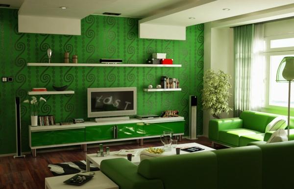 wohnzimmer frisch gemütlich regale sofas teppich