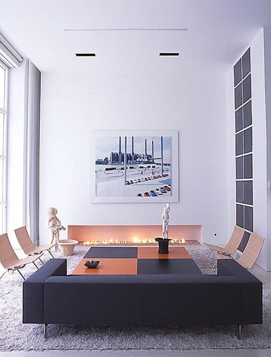 wohnzimmer gestalten moderne designer möbel deko kamin