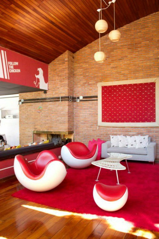 wohnzimmer gestalten moderne möbel rot weiß kontraste