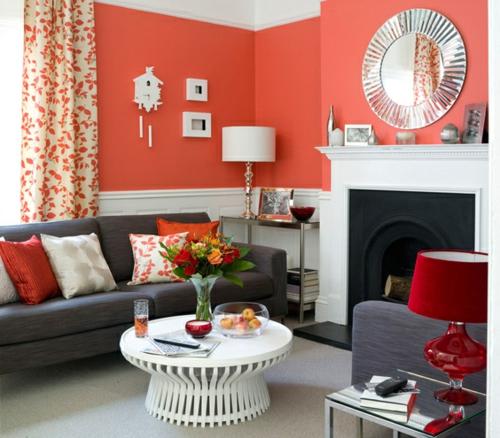 Wohnzimmer gestalten 33 opulente einrichtungsideen - Wandgestaltung wohnzimmer rot ...