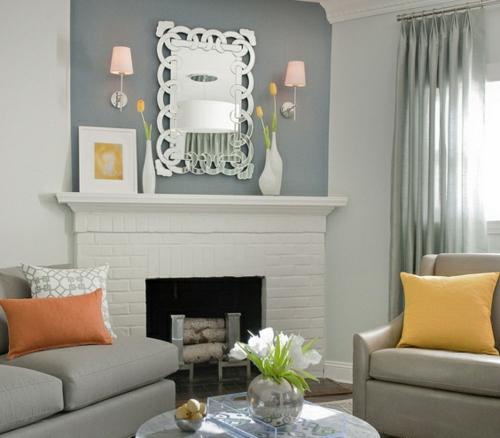 akzente kamin wohnzimmer gestalten silberne