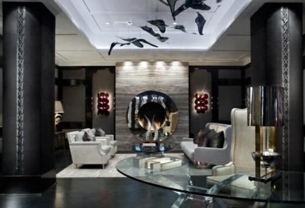 wohnzimmer gestalten weiße decke mit dekoration glastisch