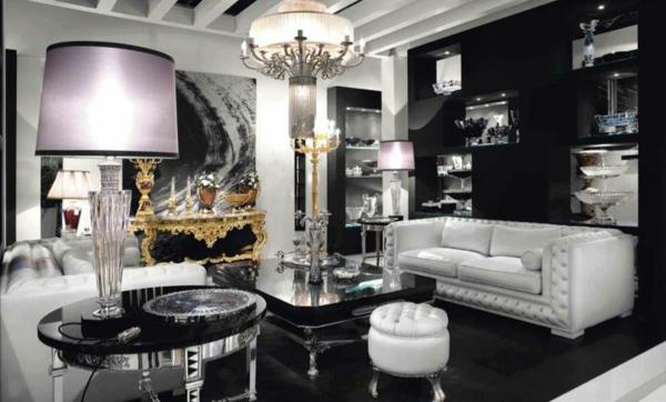luxus wohnzimmer tische:wohnzimmer in schwarz und weiß ledersofa tische kronleuchter