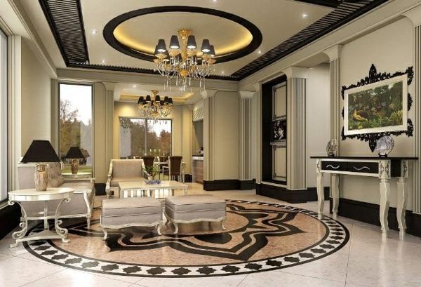 wohnzimmer luxuriös gestalten  runde dekoration an der decke