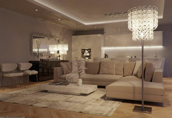 wohnzimmer luxuriös gestalten sanftes beige stehlampe niedriger tisch