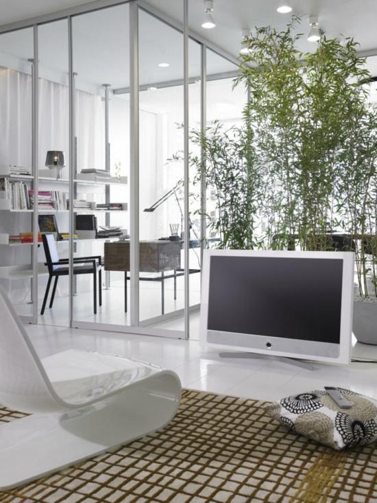 wohnzimmer modern gestalten glaswand als raumtrenner