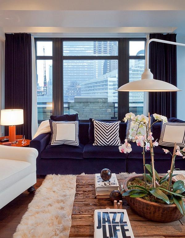 wohnzimmer urban einrichtung moderne tischlampe orange lampenfuß