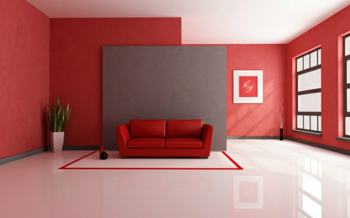 Beautiful Wohnzimmer Wandfarbe Rot Photos - House Design Ideas ...
