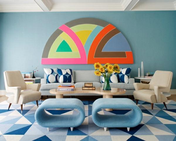 Wohnzimmereinrichtung Lebhafte Farben Klassisch Look Hell