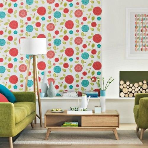 Wohnzimmergestaltung Ideen Retro Stil Vintage Muster Wandtapete Kamin