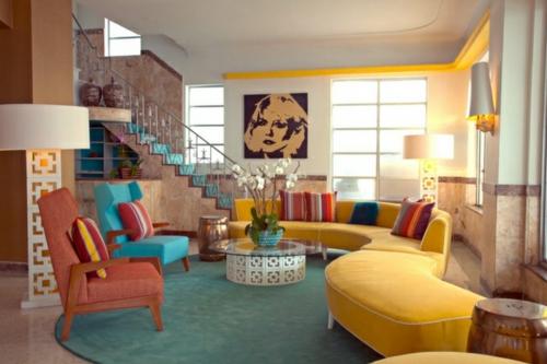 wohnzimmergestaltung mit farbigen mobeln, wohnzimmergestaltung ideen im retro-stil, Ideen entwickeln