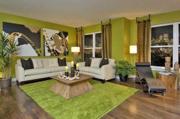 zeitgenössische designideen grün wanddeko