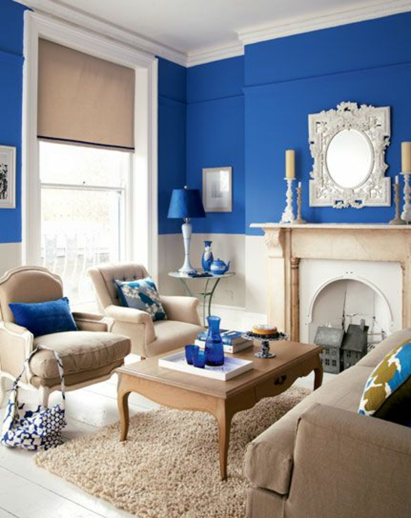 zimmerfarben ideen sattes blau neutrale möbel