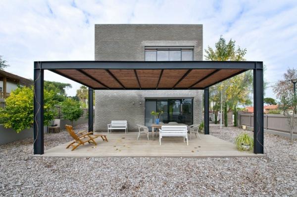 Terrasse modern Überdachte holz glas überdachung